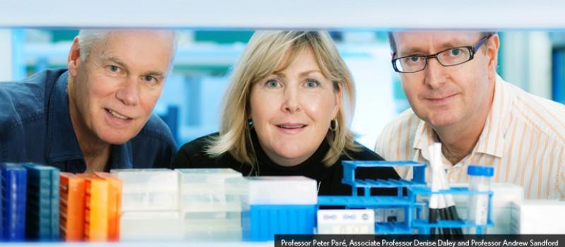 Professor Peter Pare, Associate Professor Denise Daley and Professor Andrew Sandford